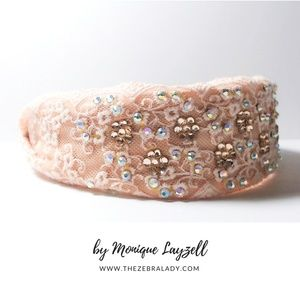 Lace Crystal Light Pink Coral Headband